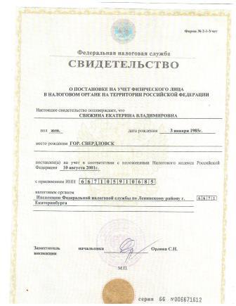 ИНН Свяжина Екатерина Владимировна
